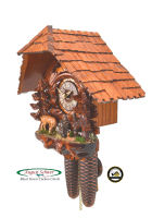 8-Day Cuckoo Clock Chalet Clock: Deer Group in the Forest, 11.8inch