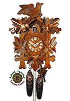 8-Day Carving Cuckoo Clock: 3 Birds, 13.8inch