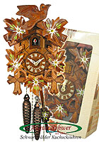 1-Day Cuckoo Clock, Edelweis, Gift-Boxed, 9.45 inch