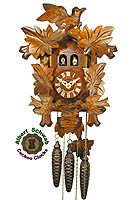 1-Day Music Carving Cuckoo Clock Feeding Birds 12.2 in