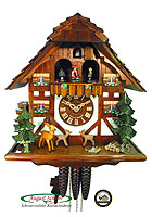 1-Day Music Cuckoo Clock Jumping Deer, 12.8inch