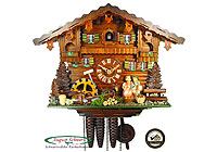 1-Day Music Cuckoo Clock Kissing Couple Clock 14inch