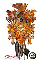 1-Day Cuckoo Clock Carving Bird & Leaves 9.45inch