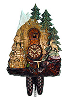 8-Day Cuckoo Clock Relief-Carving Neuschwanstein, 13.8 inch