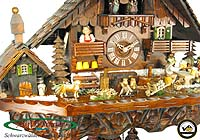 8-Day Music Cuckoo Clock Black Forest Farm, The Beerdrinkers 16.9 inch