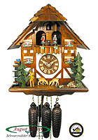 8-Day Music Dancer Chalet Cuckoo Clock, Leaping Deer, 13.4 inch