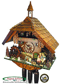 8-Day Cuckoo Clock Chalet Music: Romantic Kissing Couple, 20.5inch