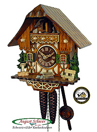 1-Day Cuckoo Clock Timberframe Cottage 9.1 inches
