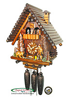 8-Day Music Cuckoo Clock Block House, 15 inch