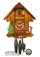 1-Day Cuckoo Clock Chalet, Flowers, 9.3inch