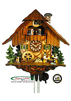 1-Day Music Dancers Cuckoo Clock Two Beerdrinkers, 13.4inch