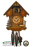 1-Day Cuckoo Clock Black Forest House, OAK color 8.66 inch