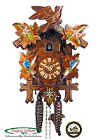 1-Day Cuckoo Clock Edelweis Gentian Painting, 11 inches