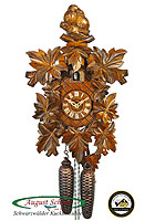 8-Day Carving Cuckoo Clock The Love Birds, 15.4 inch