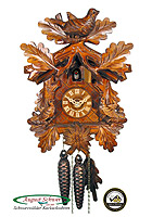 1-Day Cuckoo Clock 3 Birds & Oak Leaves 10.2inch