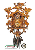 1-Day Cuckoo Clock Carving Vines & Cuckoo 11.8inch