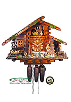 8-Day Cuckoo Clock Log House, Wood Chopper, 14.2 inch
