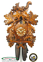 8-Day Carving Cuckoo Clock The Squirrel, 14.6inch
