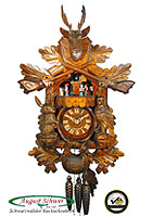 1-Day Cuckoo Clock Music Dancers Hunting Clock, 19.3 inch