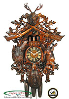 8-Day Carving Cuckoo Clock Music Hunting Clock, 26 inch