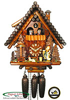 8-Day Music Cuckoo Clock Block House, Geese Girl 15 inch
