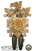 8-Day Carving Cuckoo Clock, OAK finish, Bird & Leaves, 11 inch
