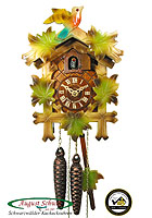1-Day Cuckoo Clock Carving Bird & Leaves - COLOR - 9.45inch