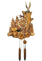 Wall Clock Old Oak Line Bear & Eagle 15.7 inch