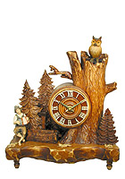 Table-Clock Old Oak Line Musician & Owl 13 inch