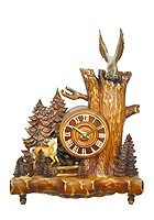 Table-Clock Old Oak Line Horse & Eagle 14.5 inch
