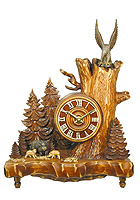 Table-Clock Old Oak Line Wild Boar & Eagle 14.5 inch