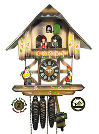 1-Day Cuckoo Clock Music Dancer Timberframe House, 10.6inch