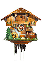 1-Day Music Cuckoo Clock Black Forest Railway Line, 13.4inch