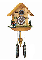 Quartz Cuckoo Clock Black Forest Costume Couple, 9.84inch
