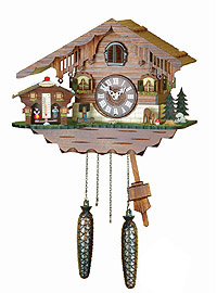 Quartz Cuckoo Clock with Weather House, 9.84inch