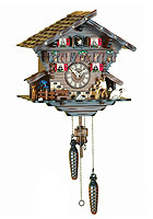Quartz Cuckoo Clock Wood Chopper Chalet, Mill-Wheel, 11.4 inch