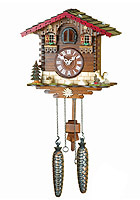Quartz Cuckoo Clock Chalet with Squirrel, 9.84inch