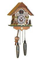 Quartz Cuckoo Clock Wood Chopper Chalet, Mill-Wheel, 9.84 inch
