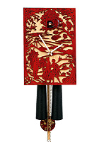8-Day Cuckoo Clock Silhouette Design, red, 11inch