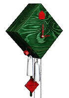 1-Day Cuckoo Clock Design Collection Rhombus Green, 9.5inch