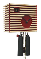 8-Day Cuckoo Clock Bauhaus Design, red, 7.9inch