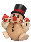 Chubby Smoker Snowman Trio 4.7 inches